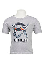Cinch Toddler's Heather Grey with Bull Wearing Sun Glasses Short Sleeve T-Shirt