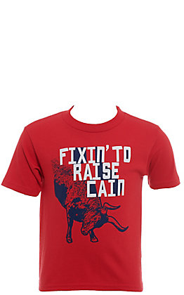 Cinch Boys' Toddlers Red Fixin' To Raise Cain Short Sleeve Tee