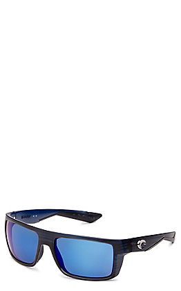 Costa Motu Blue Mirror Matte Black Teak Sunglasses