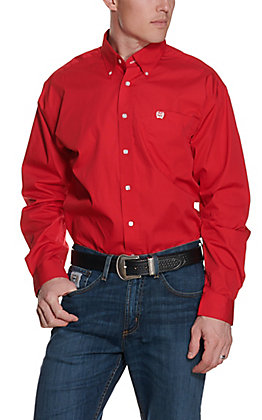 Cinch Men's Red Long Sleeve Western Shirt