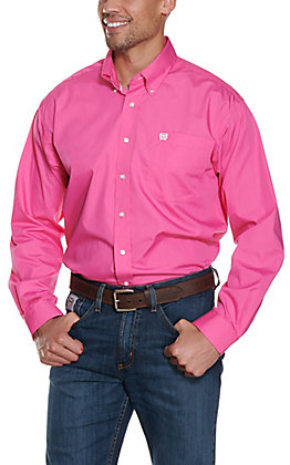 Cinch Men's Solid Pink Long Sleeve Western Shirt