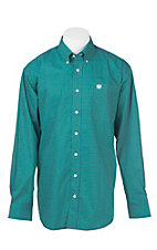 Cinch Men's Geen and Blue Circle Print Long Sleeve Western Shirt