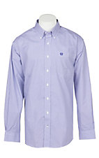 Cinch Men's White & Purple Diamond Print Western Button Down Shirt