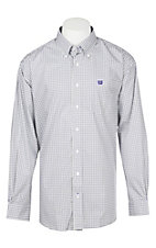 Cinch Men's Grey & Purple Geometric Print Western Button Down Shirt