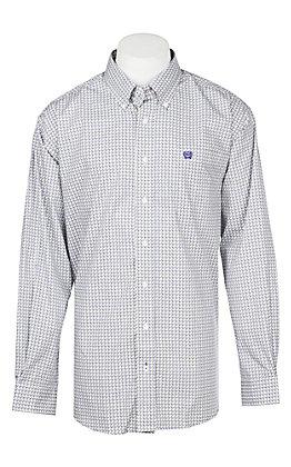 Cinch Men's Grey & Purple Geometric Print Western Button Down Shirt