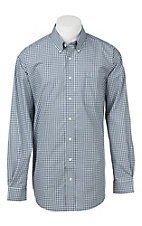 Cinch Men's Navy and White Plaid Long Sleeve Western Shirt