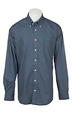 Cinch Men's Navy Grid Print Long Sleeve Western Shirt