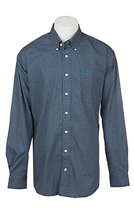 Cinch Men's Navy Grid Print Long Sleeve Western Shirt