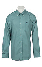 Cinch Men's Teal Hexagon Print Western Button Down Shirt