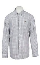 Cinch Men's White Windowpane Long Sleeve Western Button Shirt