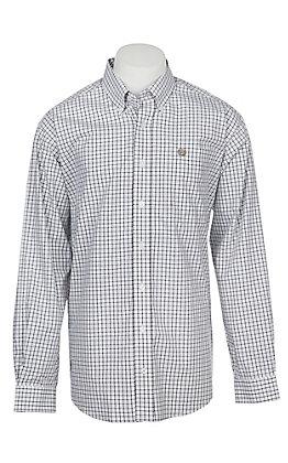 Cinch Men's White Windowpane Long Sleeve Western Button Shirt
