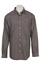 Cinch Men's Brown and Red Multi Print Long Sleeve Western Shirt