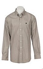 Cinch Men's Brown Weave Print Long Sleeve Western Shirt