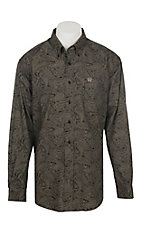 Cinch Men's Black Paisley Print Long Sleeve Western Button Shirt