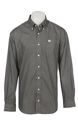 Cinch Men's Brown and Black Geo Print Long Sleeve Western Shirt