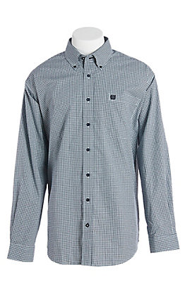 Cinch Men's Navy Gingham Plaid Western Button Down Shirt