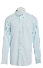 Cinch Men's White and Mint Stripe Long Sleeve Western Shirt
