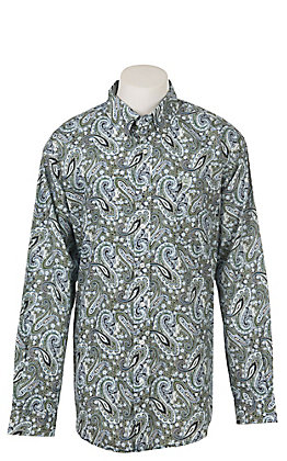 Cinch Men's Green and Mint Paisley Long Sleeve Western Shirt