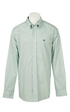 Cinch Men's Mint and Navy Circle Print Long Sleeve Western Shirt