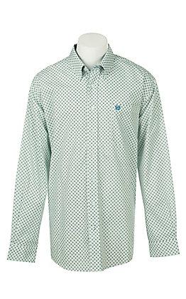 Cinch Men's Mint and Navy Circle Print Long Sleeve Western Shirt
