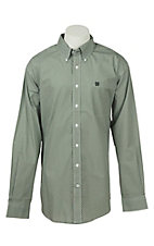 Cinch Men's Green Geo Diamond Print Long Sleeve Western Shirt