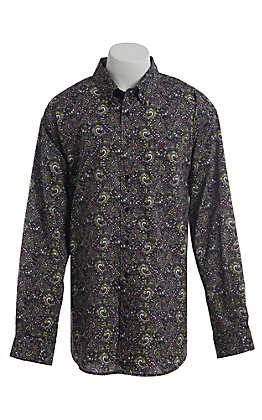 Cinch Men's Black Big Paisley Western Long Sleeve Button Down Shirt