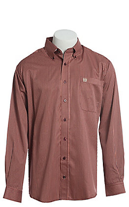 Cinch Men's Coral, Burgundy and White Multi Long Sleeve Button Down Western Shirt