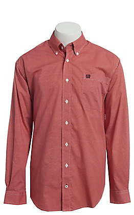 Cinch Men's Coral Geo Print Button Down Western Shirt