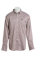 Cinch Men's Gray and Burgundy Geometric Print Long Sleeve Button Down Western Shirt