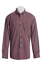 Cinch Men's Burgundy, Red and Gray Medallion Print Long Sleeve Button Down Western Shirt
