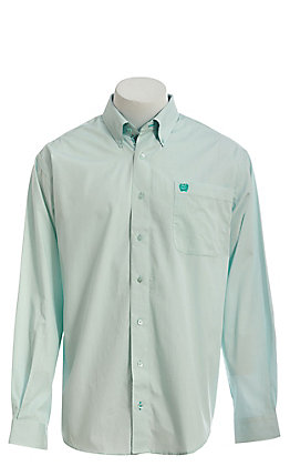 Cinch Men's Aqua Solid Long Sleeve Button Down Western Shirt