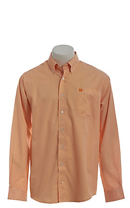 c8095d4438 Cinch Men's Orange Tencel Mini Striped Long Sleeve Button Down Western Shirt