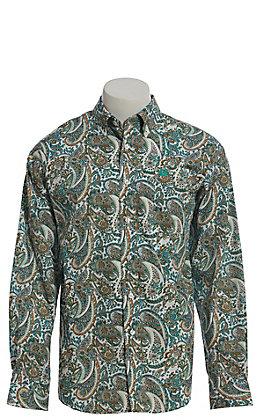 Cinch Men's Aqua Multi Paisley Long Sleeve Button Down Western Shirt