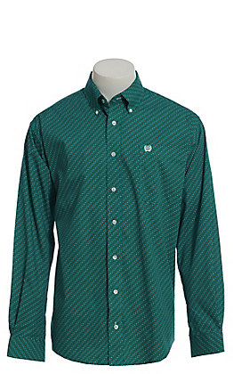 Cinch Men's Turquoise, White And Orange Geo Print Long Sleeve Button Down Western Shirt