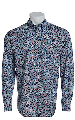 1bb7ab30 Cinch Men's Navy White & Red Paisley Long Sleeve Western Shirt