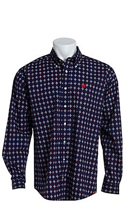 Cinch Men's Navy Red & White Medallion Print Long Sleeve Western Shirt