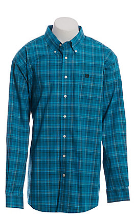 Cinch Men's Teal Plaid Long Sleeve Western Shirt