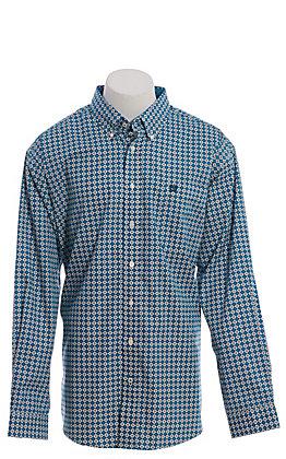 Cinch Men's Teal Geo Print Long Sleeve Western Shirt