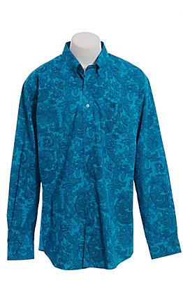 Cinch Men's Teal Paisley Print Long Sleeve Western Shirt