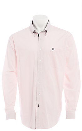 Cinch Men's Pink And White Striped Long Sleeve Western Shirt