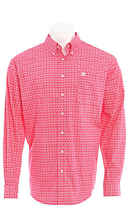 Cinch Men's Pink Geo Print Long Sleeve Western Shirt