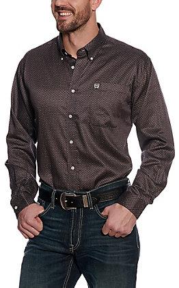 Cinch Men's Black and Maroon Geo Print Tencel Western Long Sleeve Shirt