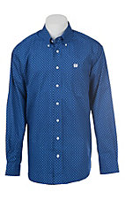 Cinch Men's Cavender's Exclusive Blue Geometric Print Western Button Down Shirt