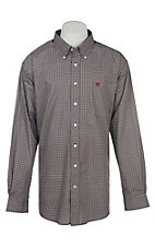 Cinch Men's Grey and Red Geo Print Long Sleeve Cavender's Exclusive Western Shirt