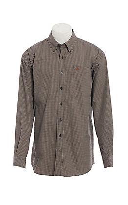 Cinch Men's Black & Khaki Mini Check Long Sleeve Western Shirt