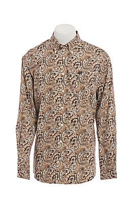 Cinch Men's Khaki Paisley Long Sleeve Western Shirt