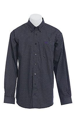 Cinch Men's Black with Purple Dots Print Long Sleeve Western Shirt