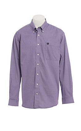Cinch Men's Purple Circle Print Long Sleeve Western Shirt