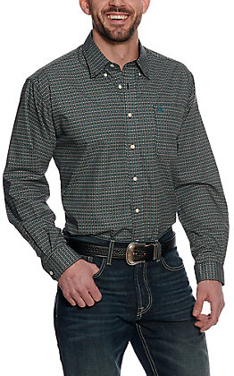 Cinch Men's Black and Teal Circle Print Long Sleeve Western Shirt