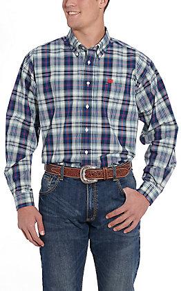 Cinch Men's Navy Blue Plaid Long Sleeve Western Shirt